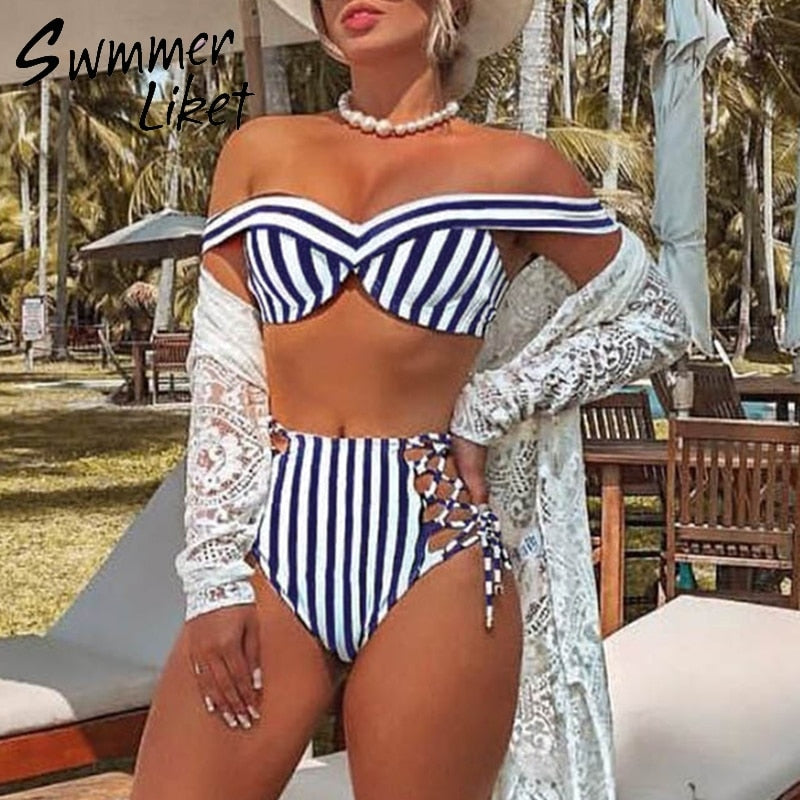 Striped swimsuit women