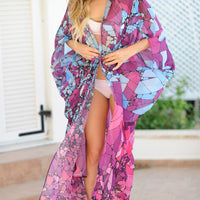 Print Blue Summer Beach Wear Long Kimono Women