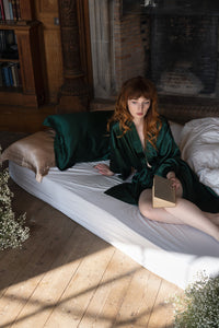 Mulberry Silk Robe: Emerald - Artem Luxe