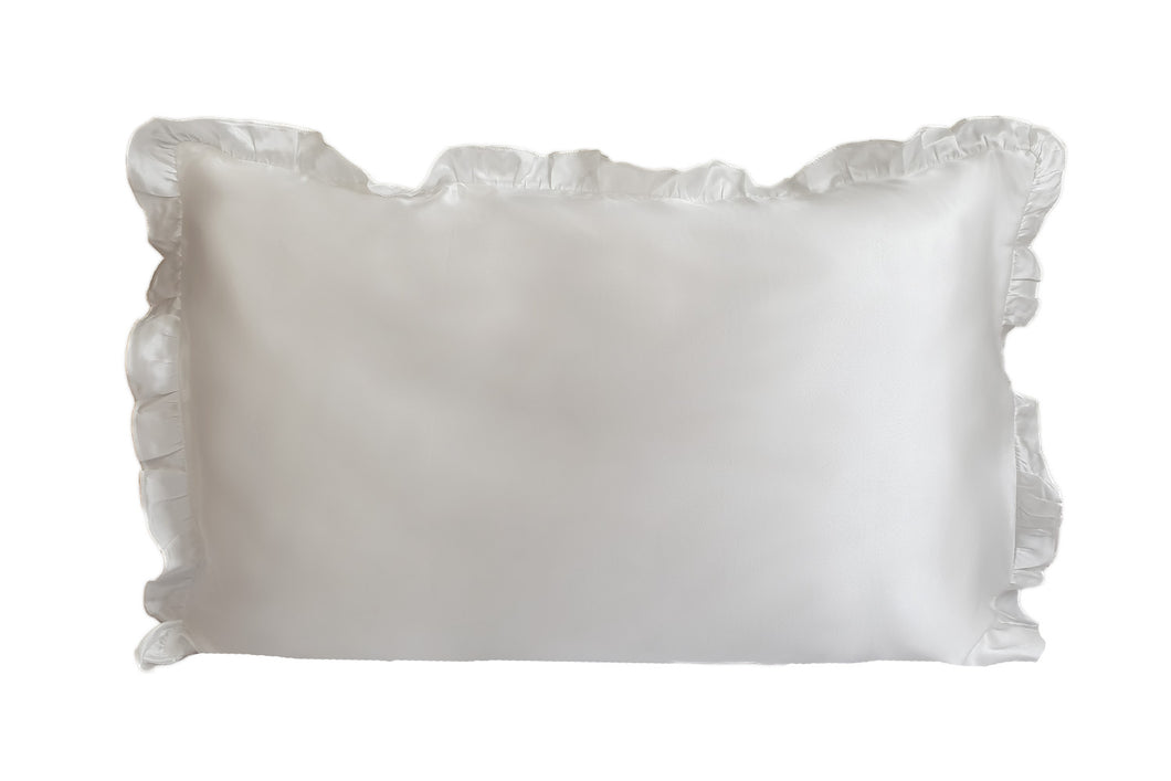 Artem Luxe Frilled Oxford Silk Pillowcase 22mm Mulberry Silk Pearl