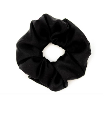 Mulberry Silk Large Scrunchie Black - Artem Luxe