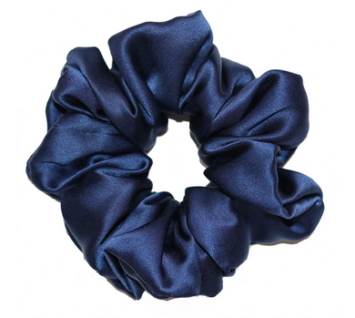 Mulberry Silk Large Scrunchie Navy - Artem Luxe