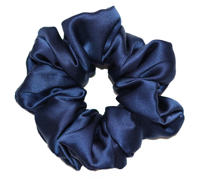Mulberry Silk Large Scrunchie Navy