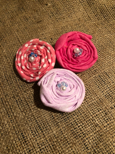 Pretty in Pink Rosette Hair Clips.  Set of 3