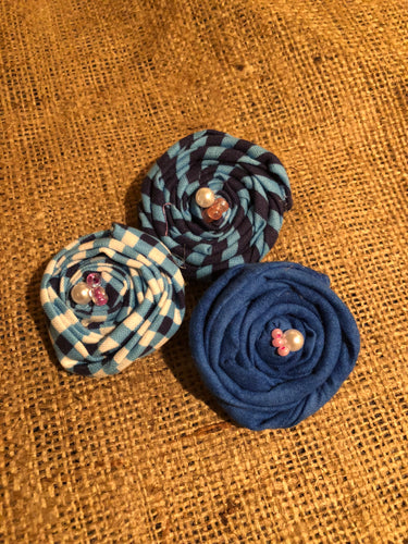 True blue Rosette Hair Clips.  Set of 3