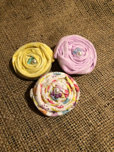 Cute Pastels Rosette Hair Clips.  Set of 3