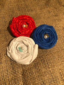 Patriotic Red, white and blue Rosette Clips (set of 3)