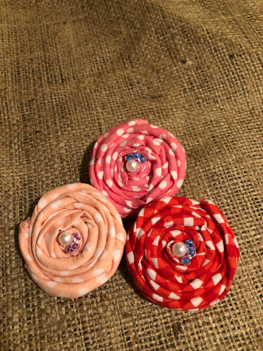 Pink and Red Picnic Rosette Clips. Set of 3