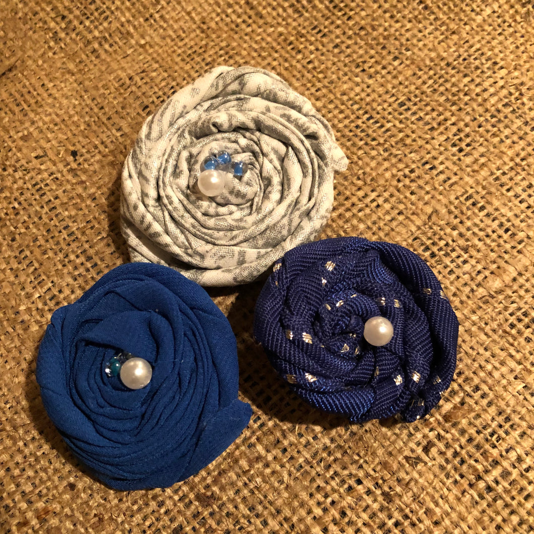Blue and Silver Rosette Clips