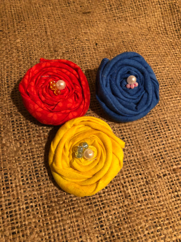 Back to Basics Rosette Hair Clips. Set of 3