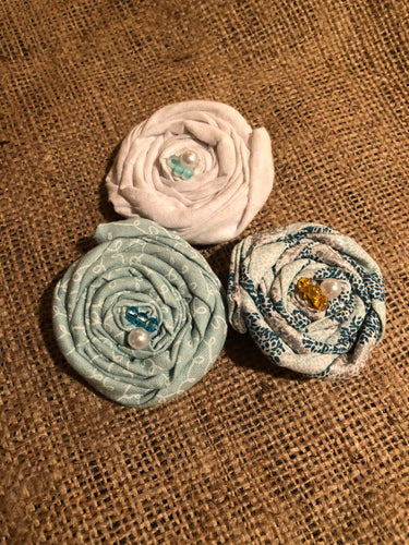 Turquoise and White Rosette Clips.  Set of 3