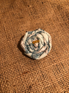 Elegant Turquoise and White Rosette Clip