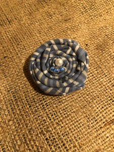 Blue with Stripes Rosette Clip