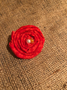 Rosy Red Rosette Clip