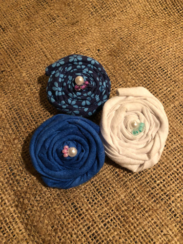 Blue and White Collection Rosette Clips. Set of 3