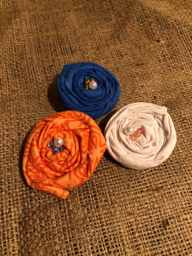 Broncos inspired Rosette Clips.  Set of 3