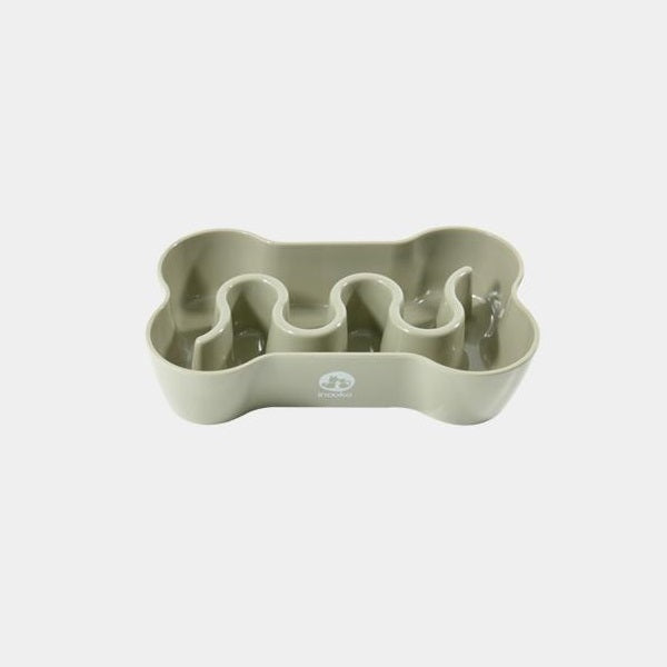 Inooko Taupe Bone Slow Feeder Dog Bowl