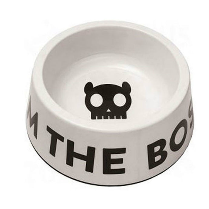 Zee Dog White 'I'm The Boss' Dog Bowl
