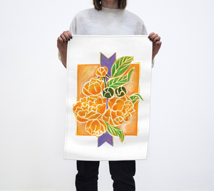 Beautiful tea towel inspired by the artwork of artist RH Zondag.  The purple accent is sure to add a smile to your day!