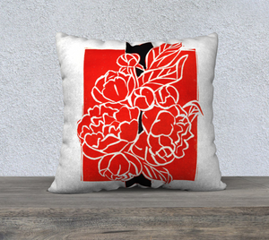 Bold Red & Black Peony Bouquet Pillow 22 x 22