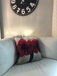 Amaryllis Pillow, Designer Throw Pillow Cover