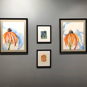 Garden Triptych, Large Scale Watercolor Coneflowers