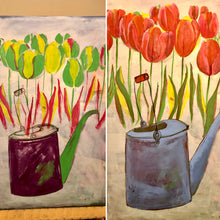 Load image into Gallery viewer, A glimpse into the painting process of The Old Watering Can. An Original Painting by Artist RH Zondag. Measures 36 inches by 24 inches.