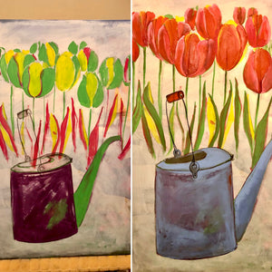 A glimpse into the painting process of The Old Watering Can. An Original Painting by Artist RH Zondag. Measures 36 inches by 24 inches.