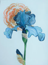 Load image into Gallery viewer, Art Nouveau Inspired Blue Iris Print by Artist RH Zondag