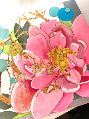 Pink Peony Mixed Media on Canvas
