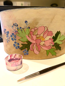 Vintage Hat Box - Up Cycled with Original Artwork