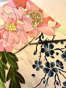 "A photo of the work in progress. ""Art Nouveau - Peonies in a Ginger Jar.""  Mixed media on paper by artist RH Zondag."