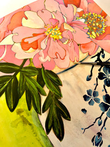 Art Nouveau - Peonies in a Ginger Jar.  Mixed Media on Paper by Artist RH Zondag.