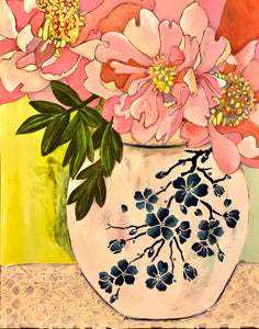 Art Nouveau - Peonies in a Ginger Jar by Artist RH Zondag.  Mixed media on paper.