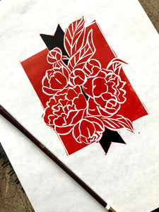 Peony Bouquet Hand-colored Floral Linocut