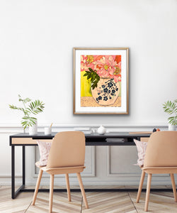 "Add beauty to your interior with this original mixed media painting on paper by artist RH Zondag. Title: ""Art Nouveau - Peonies in a Ginger Jar."