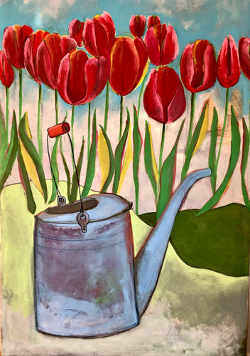 The Old Watering Can. An Original Painting by Artist RH Zondag. Measures 36 inches by 24 inches.