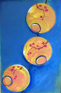 "Paper Lanterns. Acrylic on Upcycled Canvas.  36"" x 24"""