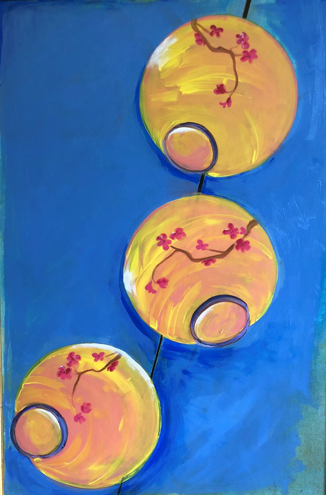 Paper Lanterns. Acrylic on Upcycled Canvas.  36