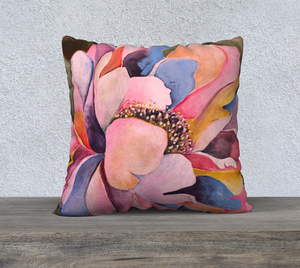 "Colorful Peony Pillow 22"" x 22"""