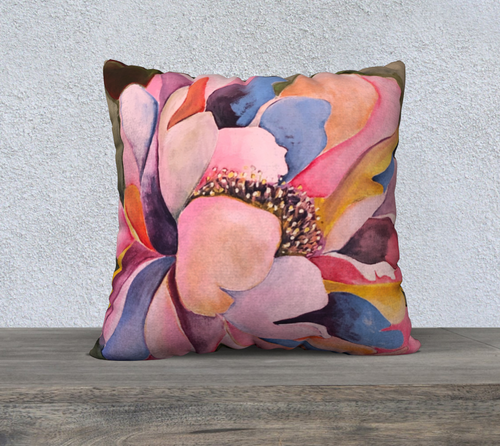 Bold Peony Image Pillow Inspired by an Original Painting RH Zondag Studio
