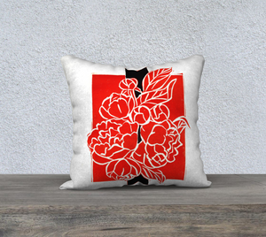 Bold Red & Black Peony Bouquet Pillow 18 x 18
