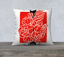 Load image into Gallery viewer, Bold Red & Black Peony Bouquet Pillow 22 x 22
