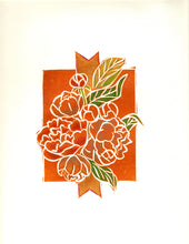 Load image into Gallery viewer, Hand-Colored Limited Edition Linocut Print by Artist RH Zondag.  This unique Peony Bouquet print fits perfectly in any art collection.  Printed on archival paper.  Ships unframed.
