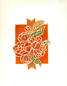 Hand-Colored Limited Edition Linocut Print by Artist RH Zondag.  This unique Peony Bouquet print fits perfectly in any art collection.  Printed on archival paper.  Ships unframed.