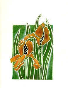 Beautiful Yellow Iris Hand-Colored Linocut Limited Edition Print by Artist RH Zondag