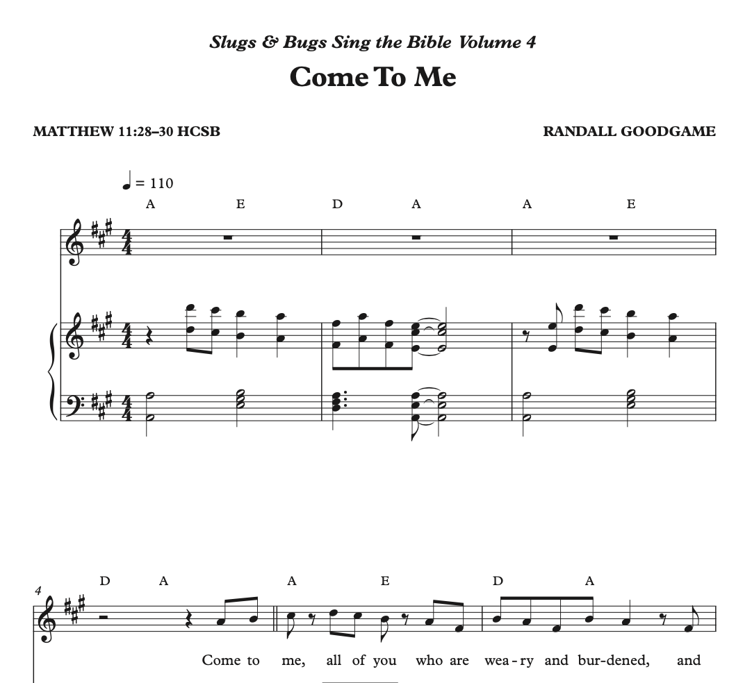 Come To Me Sheet Music - Sing the Bible Vol. 4