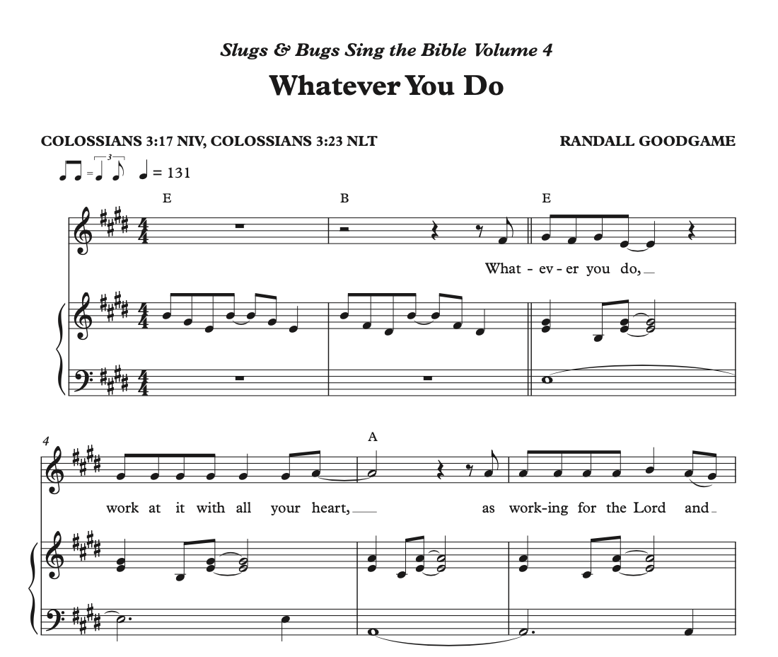 Whatever you Do Sheet Music - Sing the Bible Vol. 4