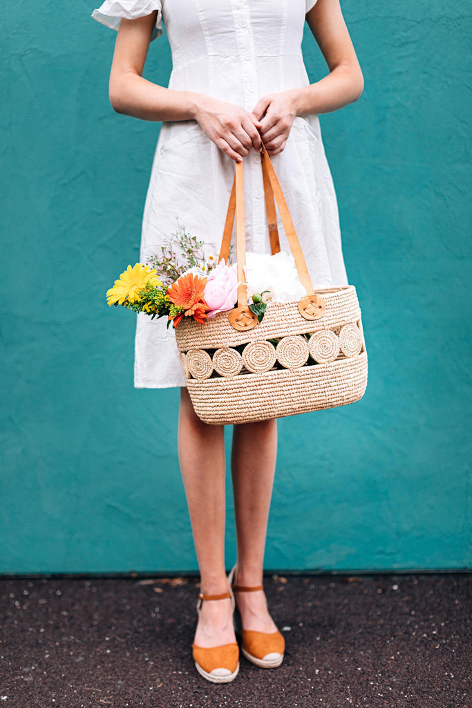 Palm Leaf Shopping Basket