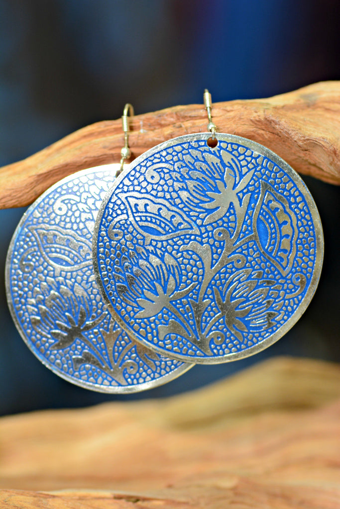 Blue Silver Medallion Earrings